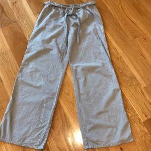 saturday sunday(Anthro) navy/white seersucker pant